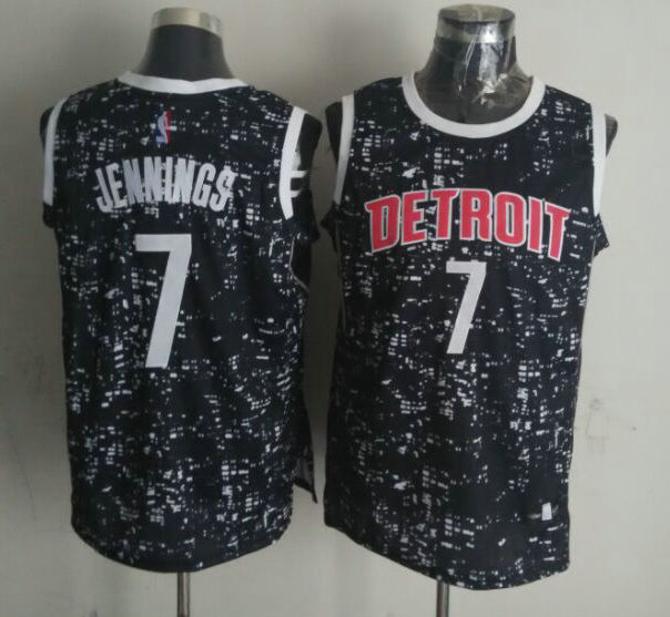 NBA Detroit Pistons 7 jennings Black National Flag Star Jersey
