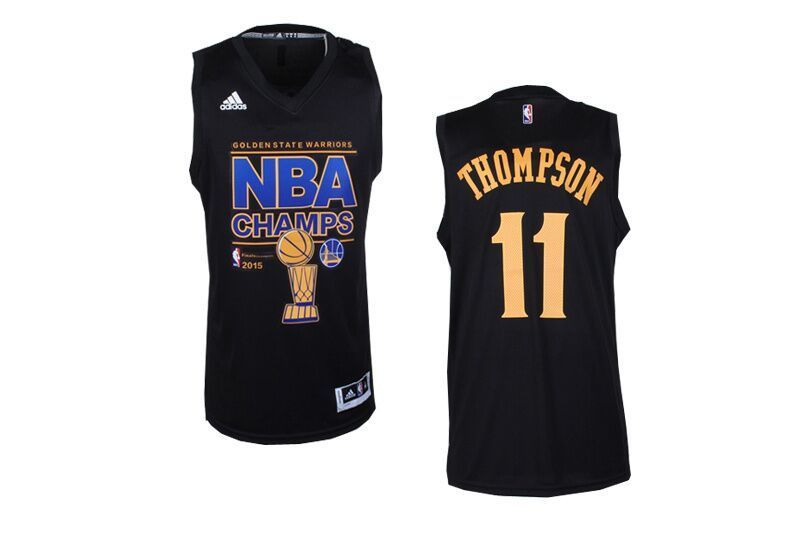 NBA Golden State Warriors 11 Klay Thompson Black 2015 Finals Champions Jersey