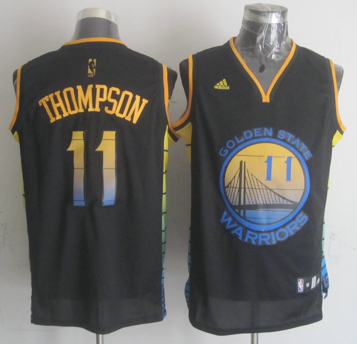 NBA Golden State Warriors 11 Klay Thompson Black 2015 Jerseys
