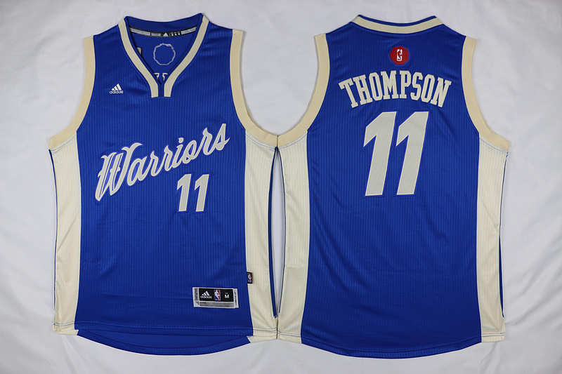 NBA Golden State Warriors 11 Klay Thompson Blue 2015 Christmas Day Swingman Jersey