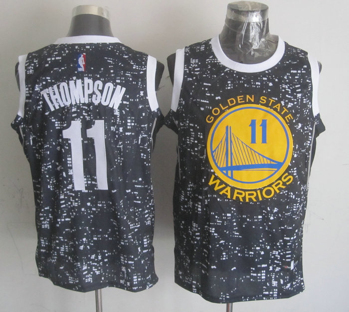 NBA Golden State Warriors 11 thompson Black National Flag Star Jersey