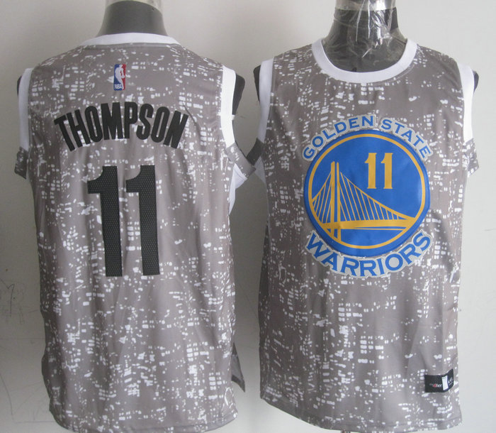 NBA Golden State Warriors 11 thompson Grey National Flag Star Jersey