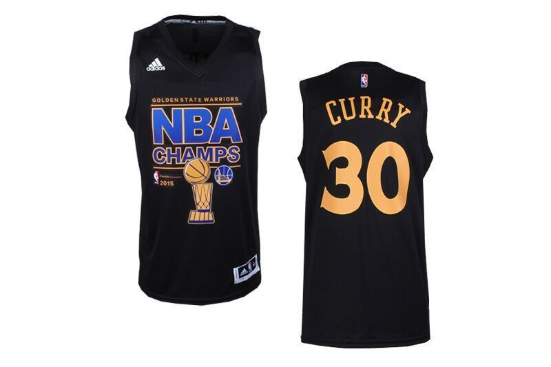 NBA Golden State Warriors 30 Stephen Curry Black 2015 Finals Champions Jersey