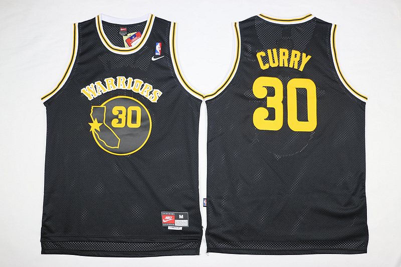 NBA Golden State Warriors 30 Stephen Curry Black Throwback Jerseys