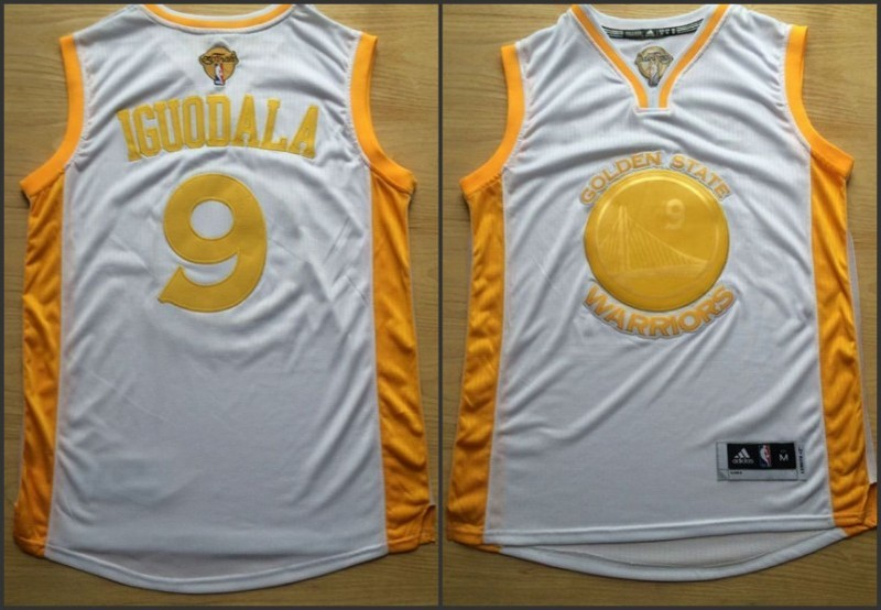 NBA Golden State Warriors 9 Andre Iguodala White Yellow 2015 Jerseys