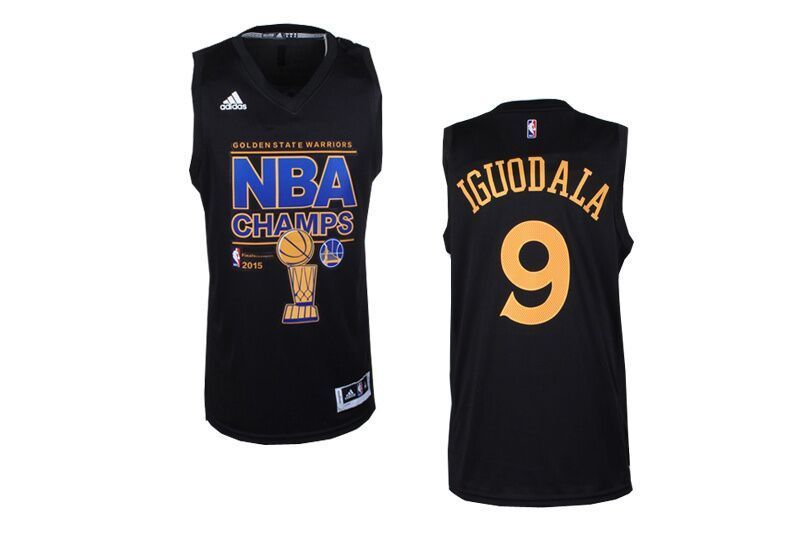NBA Golden State Warriors 9 Iguodala Black 2015 Finals Champions Jersey
