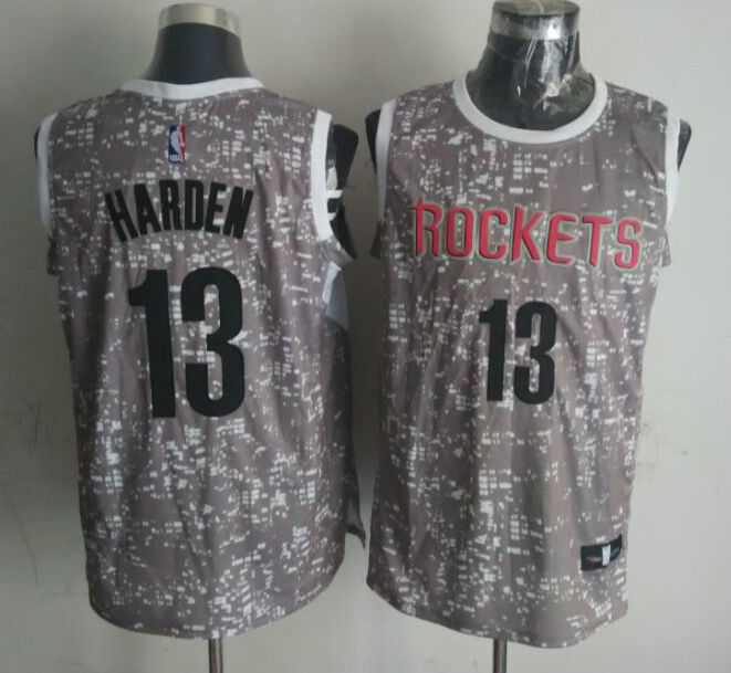 NBA Houston Rockets 13 harden Grey National Flag Star Jersey