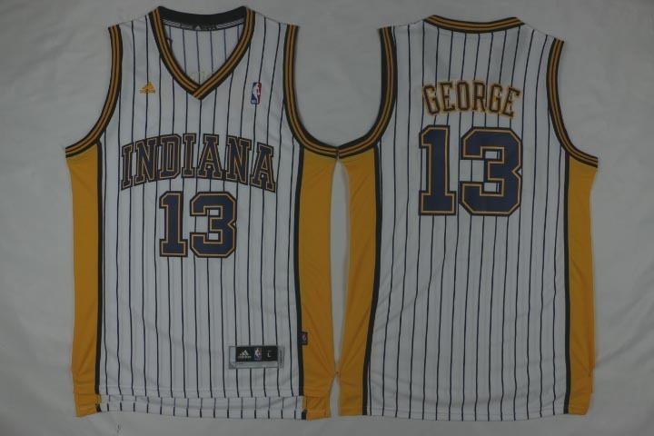 NBA Indiana Pacers 13 Paul George White Pinstrip Throwback Jerseys