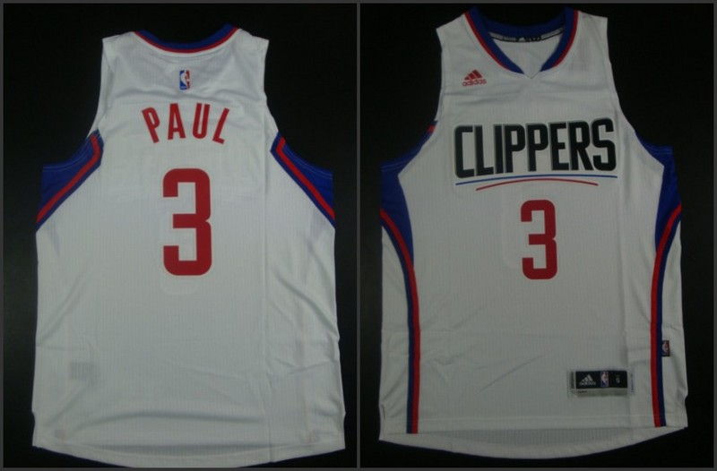 NBA Los Angeles Clippers 3 Chris Paul White 2015 Jerseys