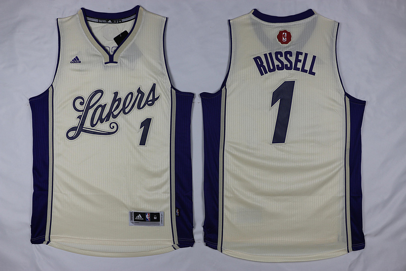 NBA Los Angeles Lakers 1 D'Angelo Russell White 2015 Christmas Day Swingman Jersey