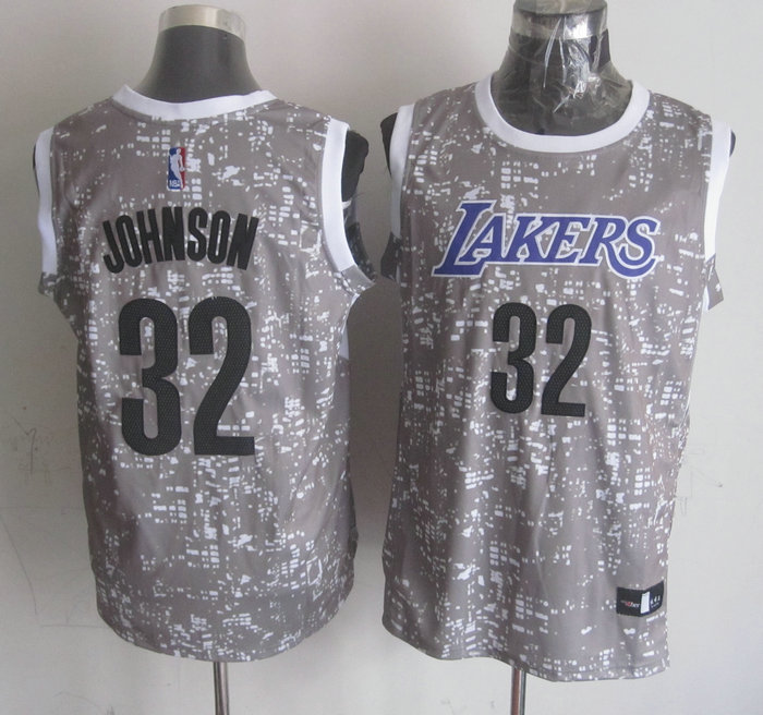 NBA Los Angeles Lakers 32 Johnson Grey National Flag Star Jersey.