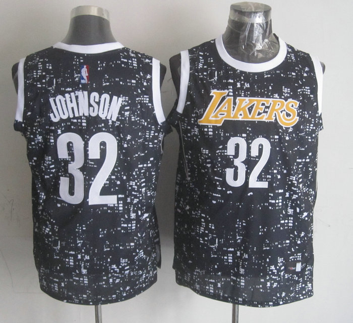 NBA Los Angeles Lakers 32 Johnson black New National Flag Star Jersey.