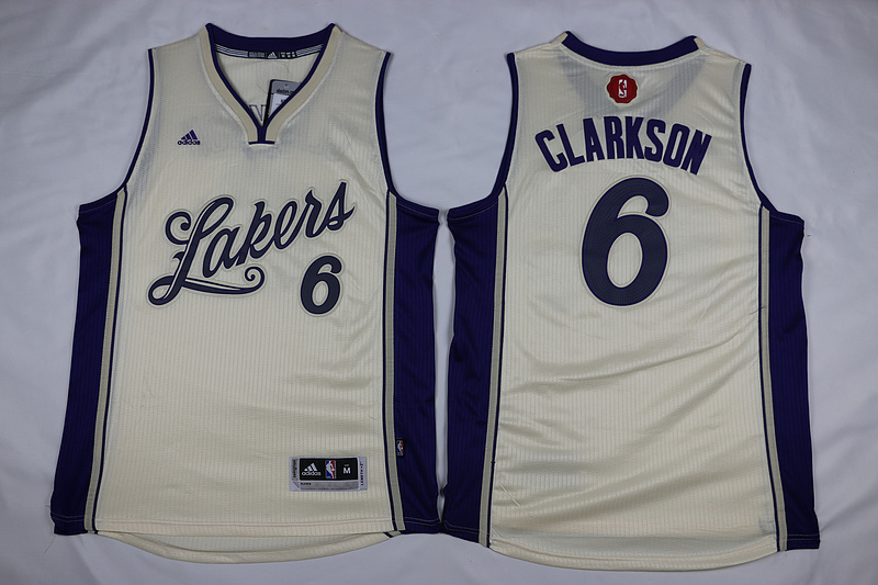 NBA Los Angeles Lakers 6 Clarkson Gream 2015 Christmas Day Swingman Jersey.