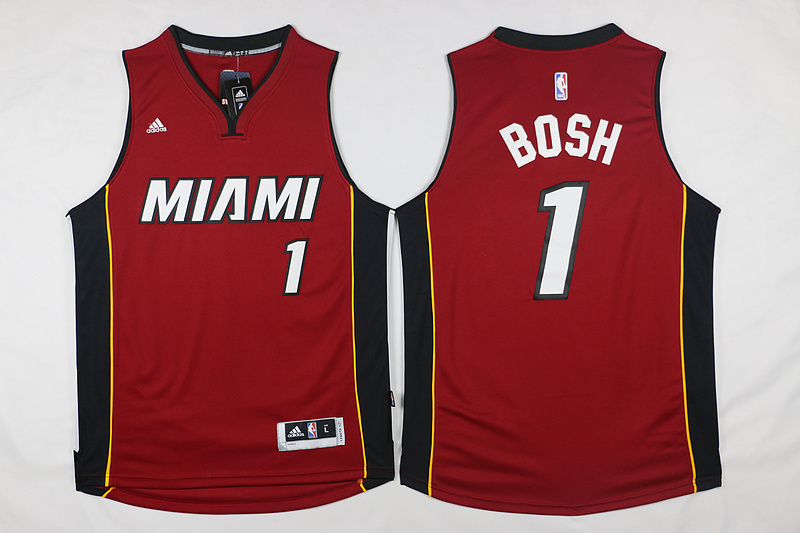 NBA Miami Heat 1 Bosh Red 2015 Jerseys