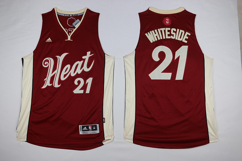 NBA Miami Heat 21 Hassan Whiteside Red 2015 Christmas Day Swingman Jersey