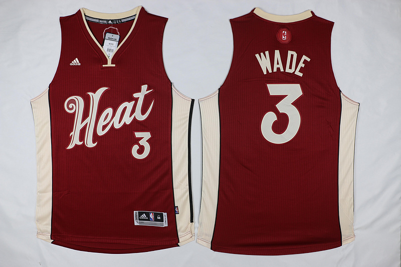NBA Miami Heat 3 Dwyane Wade Red 2015 Christmas Day Swingman Jersey