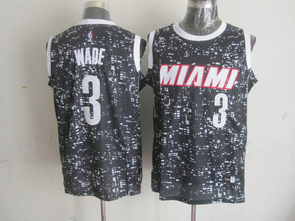 NBA Miami Heat 3 wade Black National Flag Star Jersey