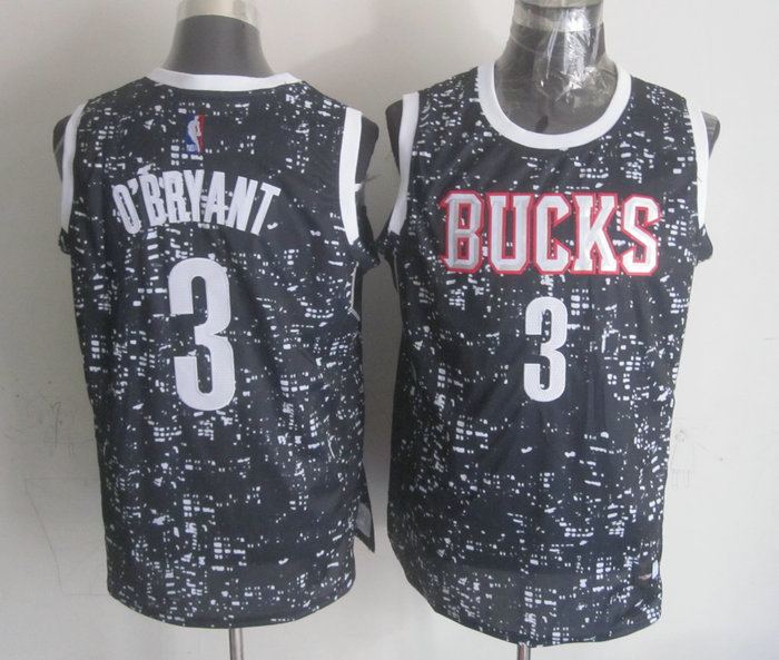 NBA Milwaukee Bucks 3 O'BRYANT Black National Flag Star Jersey