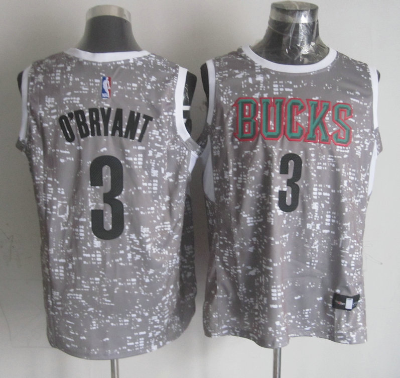 NBA Milwaukee Bucks 3 O'BRYANT Grey National Flag Star Jersey