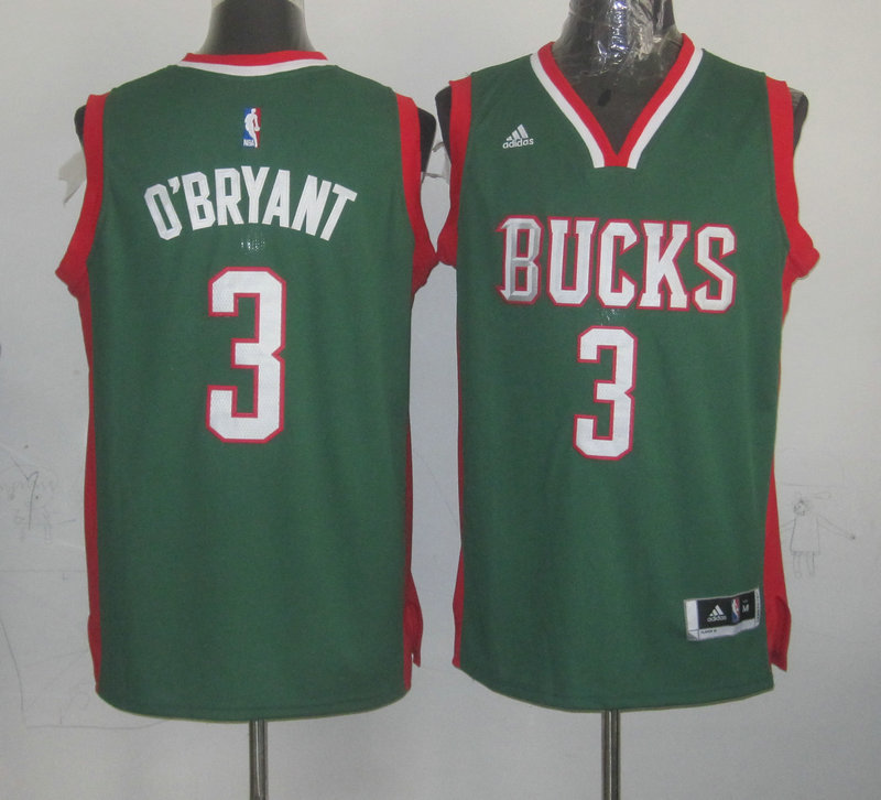 NBA Milwaukee Bucks 3 O'Bryant Green 2015 Jerseys