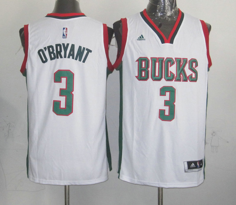 NBA Milwaukee Bucks 3 O'Bryant White 2015 Jerseys