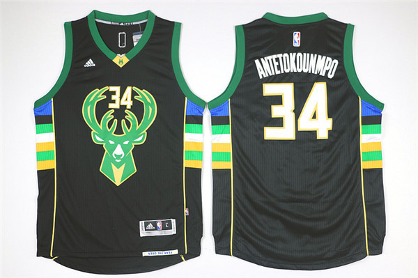 NBA Milwaukee Bucks 34 Giannis Antetokounmpo Black 2015 Jerseys