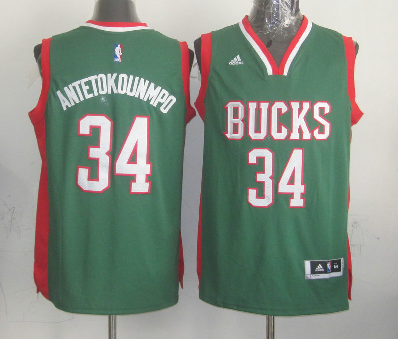 NBA Milwaukee Bucks 34 Giannis Antetokounmpo Green 2015 Jerseys