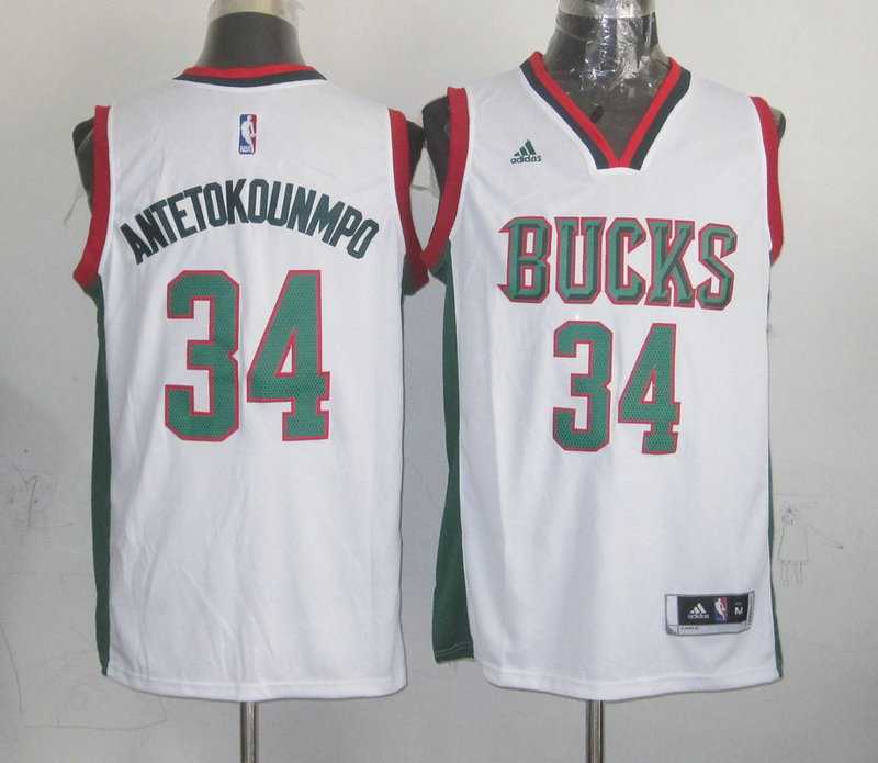 NBA Milwaukee Bucks 34 Giannis Antetokounmpo White 2015 Jerseys