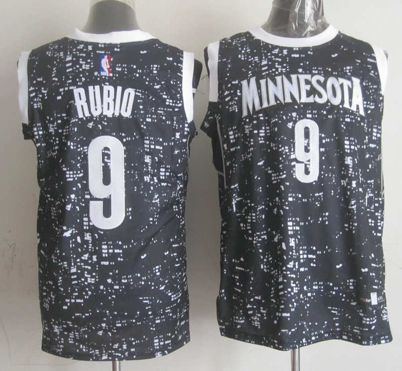NBA Minnesota Timberwolves 9 rubio black national flag star Jersey.