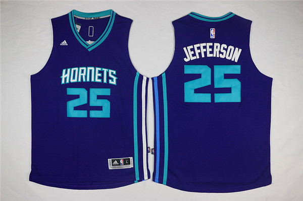NBA New Orleans Hornets 25 Al Jefferson Purple 2015 Jerseys