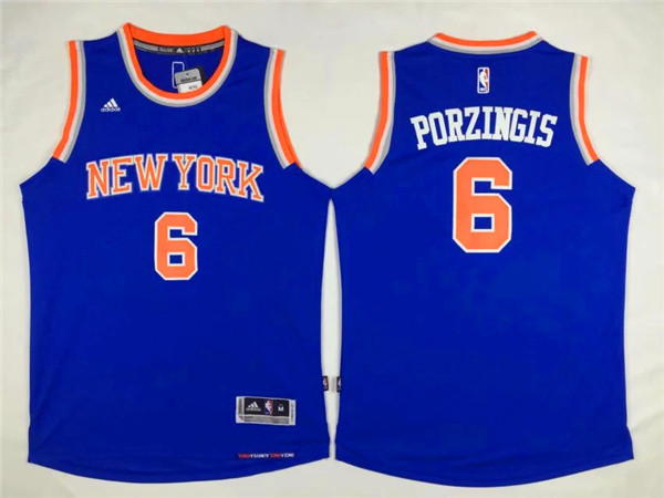 NBA New York Knicks 6 Kristaps Porzingis Blue 2015 Jerseys.