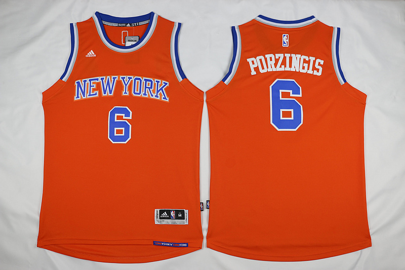 NBA New York Knicks 6 Kristaps Porzingis Orange 2015 Jerseys