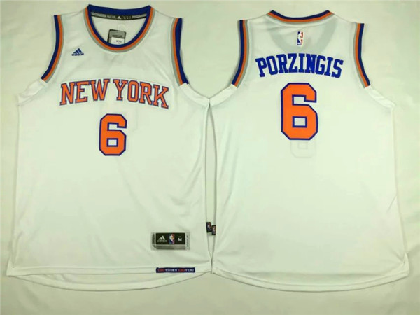 NBA New York Knicks 6 Kristaps Porzingis White 2015 Jerseys