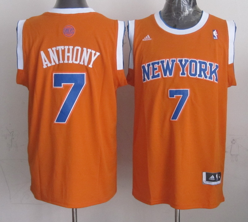 NBA New York Knicks 7 Carmelo Anthony Orange 2015 Jerseys