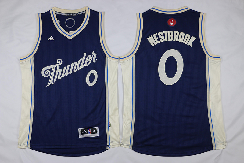 NBA Oklahoma City Thunder 0 Russell Westbrook Navy 2015 Christmas Day Swingman Jersey