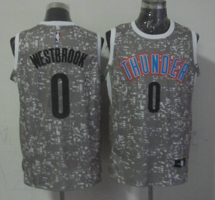 NBA Oklahoma City Thunder 0 westbrook Grey National Flag Star Jersey