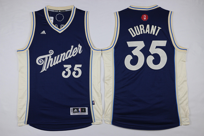 NBA Oklahoma City Thunder 35 Kevin Durant Navy Blue 2015 Christmas Day Swingman Jersey
