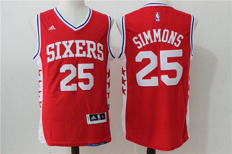 NBA Philadelphia 76ers 25 Simmons Red 2016 Jerseys