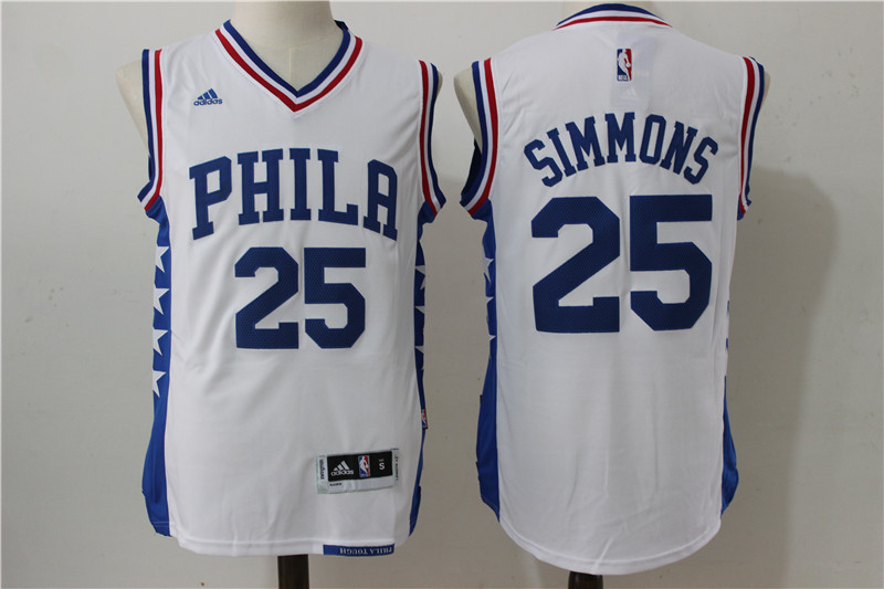 NBA Philadelphia 76ers 25 Simmons White 2016 Jerseys