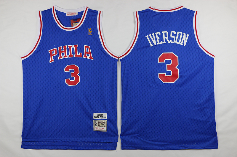 NBA Philadelphia 76ers 3 Iverson Blue 2015 Jerseys.
