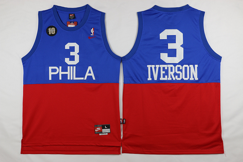 NBA Philadelphia 76ers 3 Iverson Blue Red 2015 Jerseys2