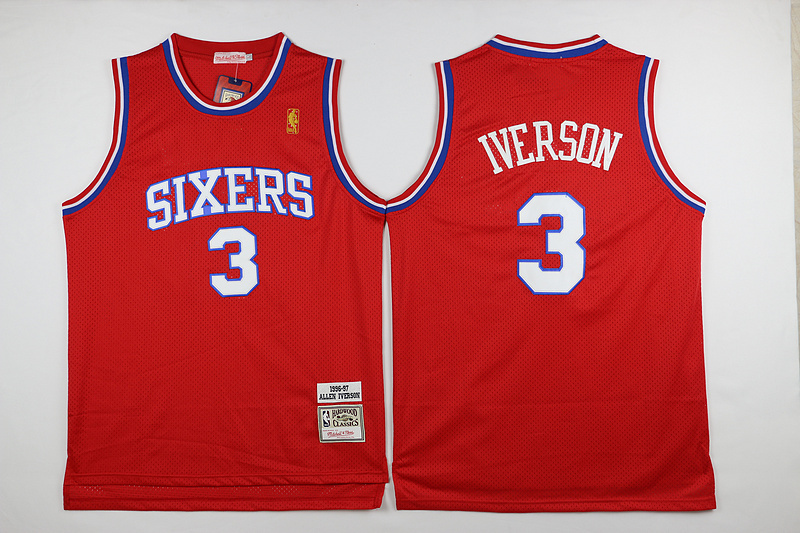 NBA Philadelphia 76ers 3 Iverson Red 2015 Jerseys