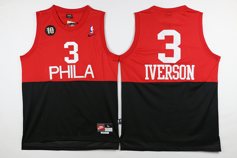 NBA Philadelphia 76ers 3 Iverson Red Black 2015 Jerseys