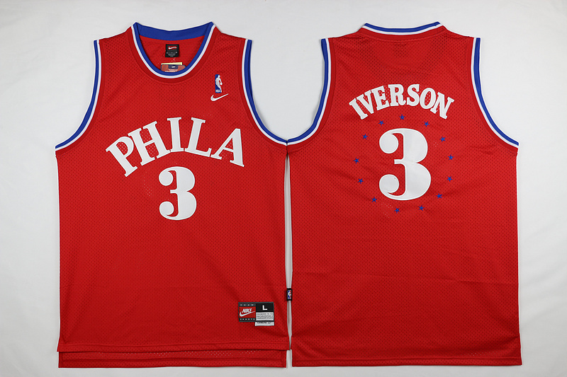 NBA Philadelphia 76ers 3 Iverson Red Nike 2015 Jerseys