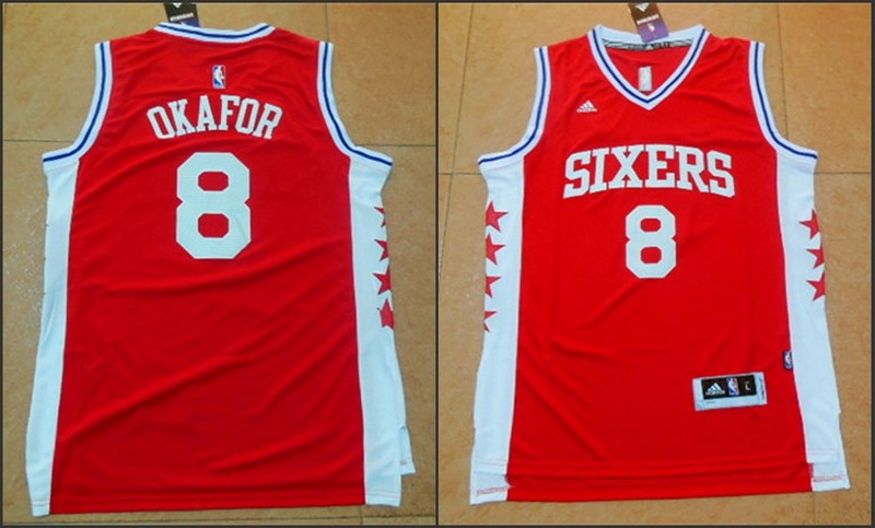 NBA Philadelphia 76ers 8 Jahlil Okafor Red 2015 Jerseys