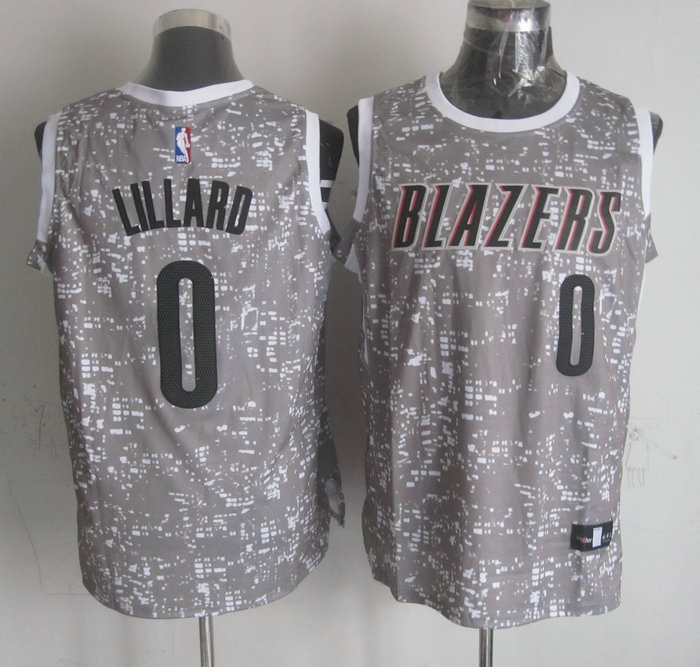 NBA Portland Trail Blazers 0 lillard grey New National Flag Star Jersey