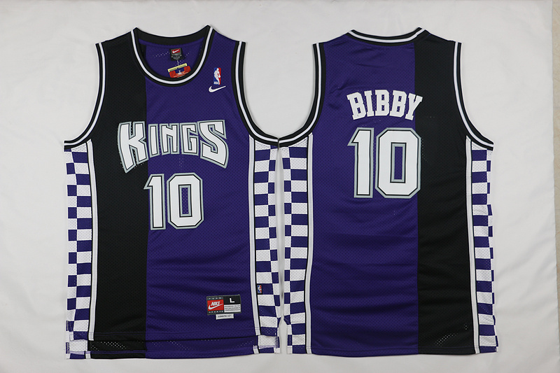 NBA Sacramento Kings 10 Mike Bibby throwback black purple jersey