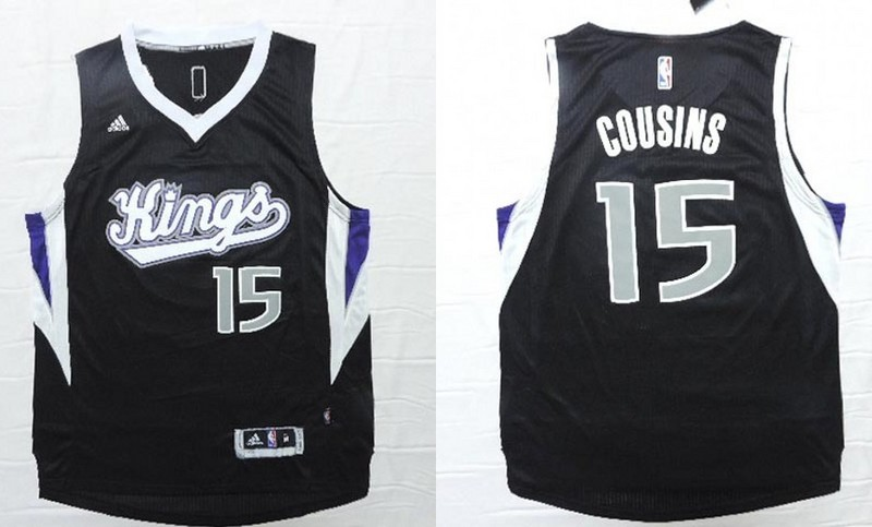 NBA Sacramento Kings 15 DeMarcus Cousins Black 2015 Jerseys.
