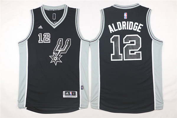 NBA San Antonio Spurs 12 LaMarcus Aldridge Black 2015 Jerseys