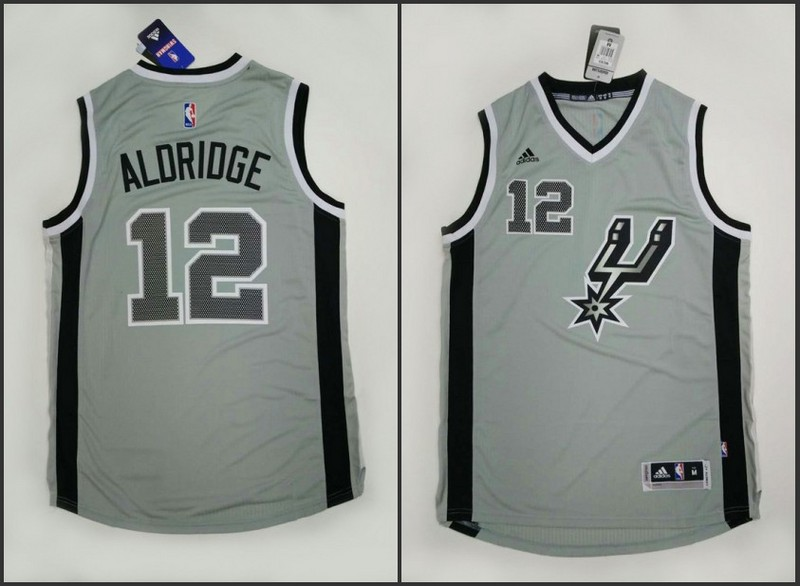 NBA San Antonio Spurs 12 LaMarcus Aldridge Grey 2015 Jerseys